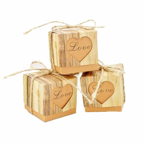 JZK 50 x LOVE heart rustic wedding favours boxes kraft paper sweets box small gift box for wedding birthday baby shower christening graduation...