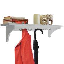 MEDFORD - 90cm Wall Storage Shelf with 5 Hooks / Hallway Coat Rack / Towel Shelf - White