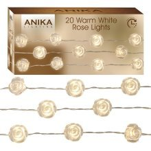 Anika 63160 20 Acrylic White Roses with Warm Battery Operated Timer LED