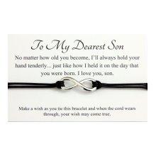 SON Handmade Infinity charm Wish bracelet,Christmas Birthday Gift card,Organza Gift bag