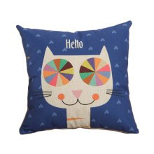 Decor Cotton Linen Decorative Throw Pillow Case Cushion Cover,Hello Cat
