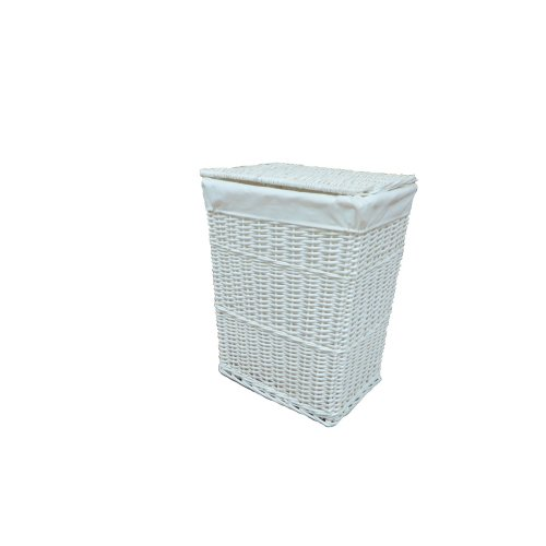 Laundry Basket Wicker Large White with Removable Liner