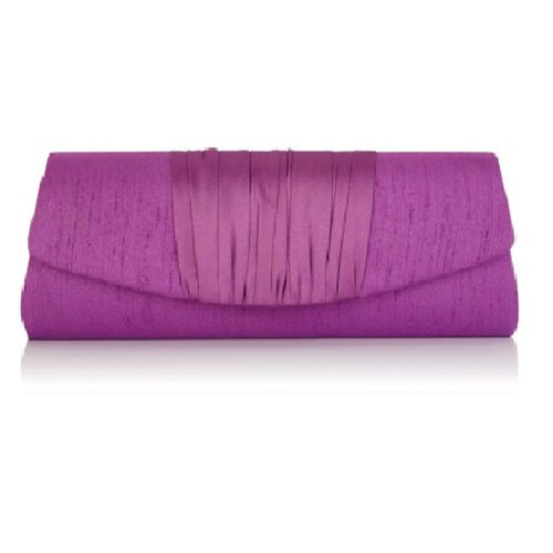 Jacques Vert Iris Purple Clutch | Satin Detail Evening Bag