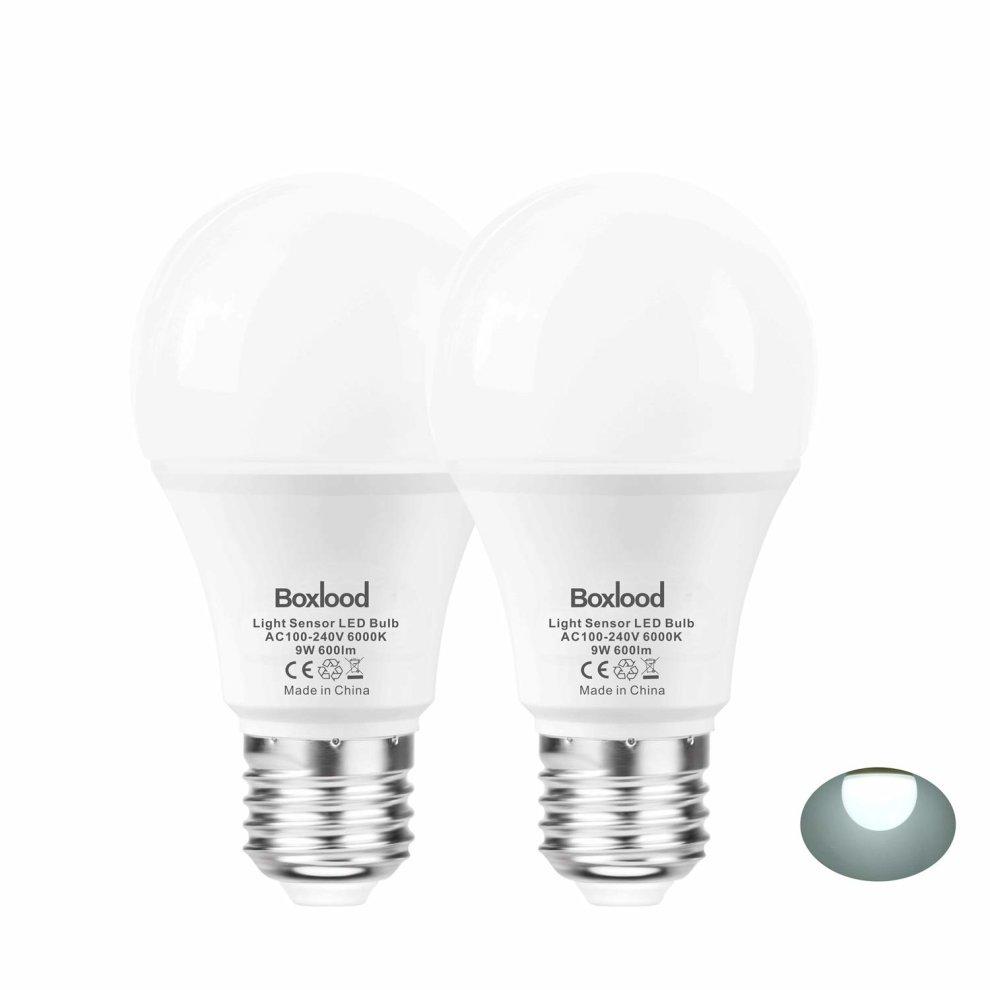 2 Pack Smart Sense Dusk To Dawn Light Bulb 9 Watt 600 Lumen 60 Equivalent E27 Base Sensor Led Bulbs For Porch Garden