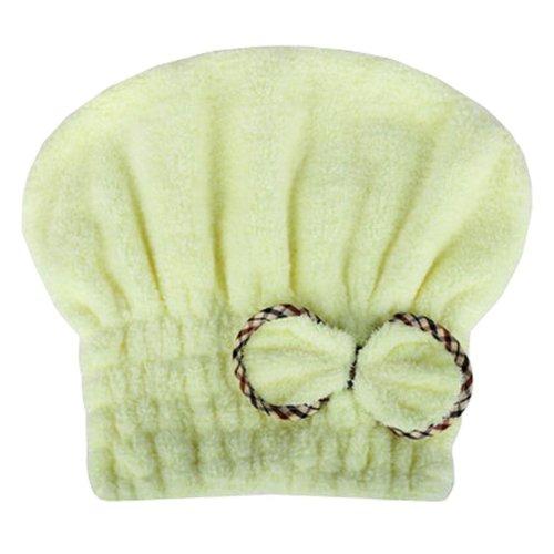 "Absorption Soft Turban Lovely Bowknot Shower Cap Bath Hair Dry Towel 9.84""x25.59""(Light Yellow)"