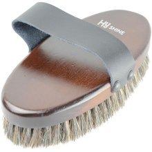 HySHINE Deluxe Horse Hair Wooden Body Brush: Dark Brown