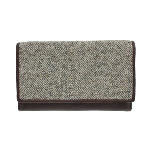 Mala Leather ABERTWEED Collection Leather & Tweed Flap Over Purse 3175_40