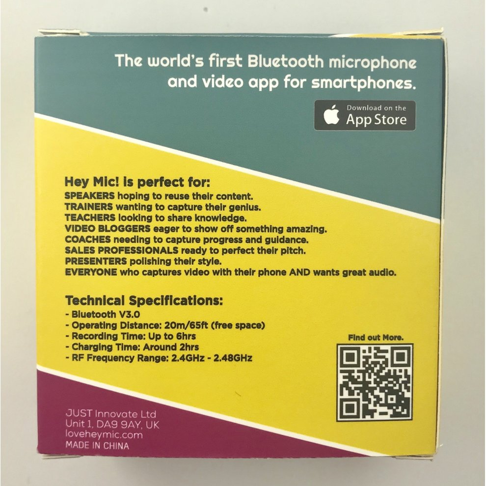 Hey Mic! Bluetooth Microphone for iPhone (Clip-on, Wireless Lavalier Mic