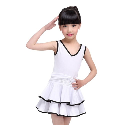 WHITE Dancing Clothes Girls Beautiful Latin Dance Dress (110-115CM Height)