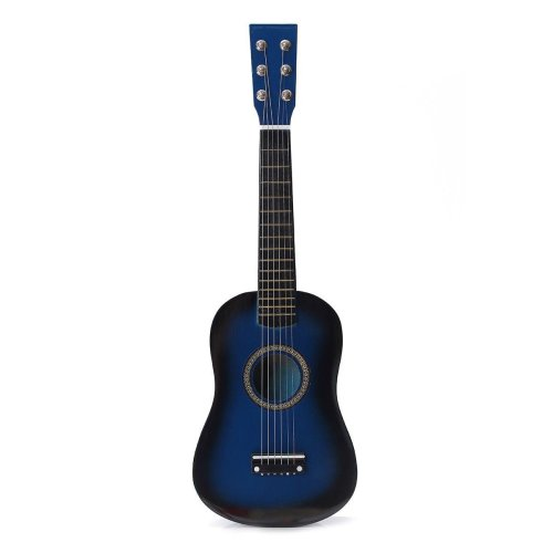 """Blue 23"""" Wooden Beginners Mini Acoustic Guitar 6 String Gift Children Music Toy"""