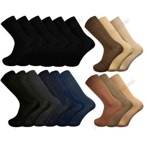 Pack of 12 6 3 Pairs Mens Socks BAMBOO Gentle Soft Grip Size 6-11 Multipack Set