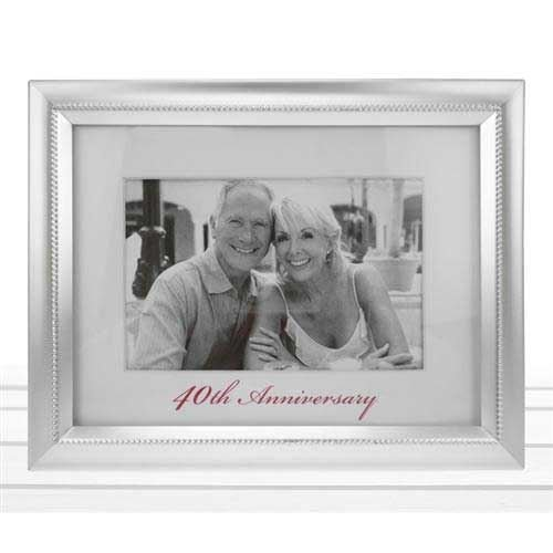 Beaded 40th Anniversary Photo Frame In Matt silver