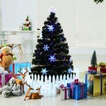 Homcom 4ft Fibre Optic Artificial Christmas Tree With LED Snowflakes