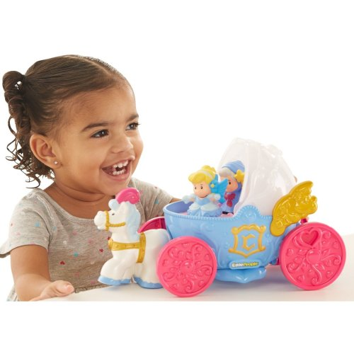 Fisher Price DL82 Little People Disney Princess Cinderella - Fairy Godmother Coach Toy Figure Playset