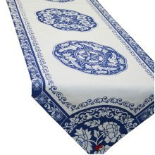 """73"""" by 13"""" Blue Florid Chinese Style Table Runner Traditional Cotton Table-cloth"""