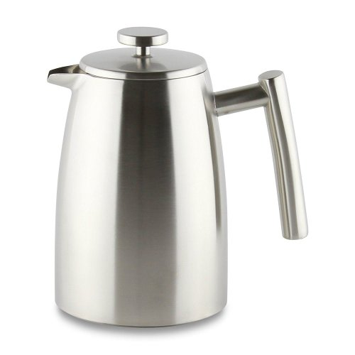 Café Ole 800ml Belmont 6 Cup Double Walled Cafetiere Coffee Maker Satin