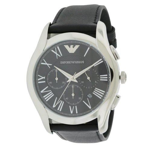 Emporio Armani Black Leather Chronograph Mens Watch AR1700