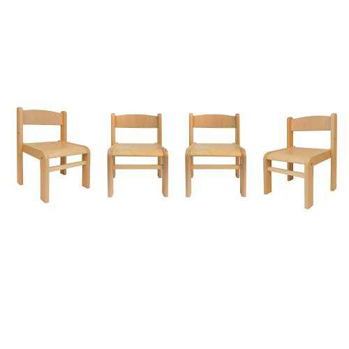 Children's Furniture Solid Beech Wood 4 Chairs w/o Armrests Natural
