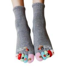 Tube Toe Socks Cotton Soft House Socks Cartoon Cute Socks-A03