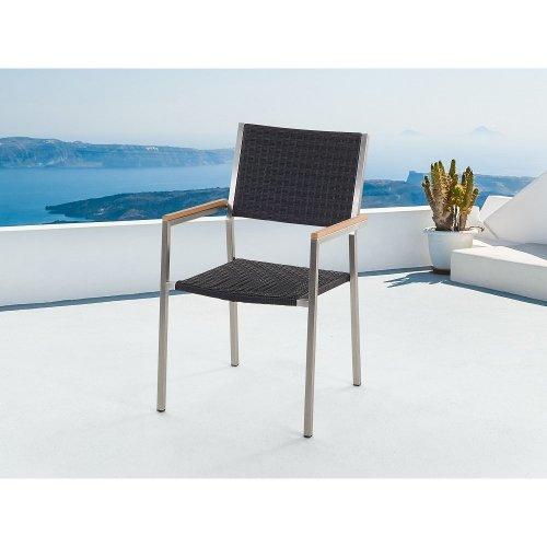 Garden Chair - Stainless Steel - Wicker Seat - GROSSETO