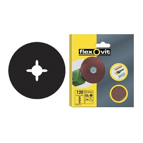 Flexovit 63642526383 Drill Mountable Discs 125mm Fine 120g Pack of 10