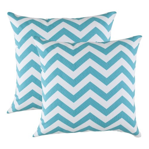 TreeWool, (2 Pack) Cushion Covers Chevron Accent in Cotton Canvas (40 x 40 cm, Turquoise)