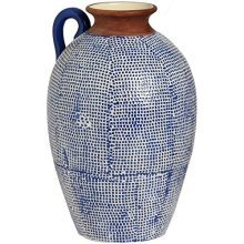 Grecian Style Blue Mosaic Vase With Handle -  grecian style blue mosaic vase handle