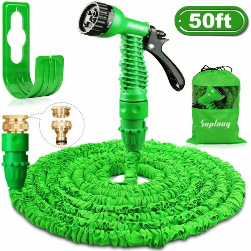 Suplong Garden Hose Expandable Water Pipe 3 Times Expanding 50ft Flexible Magic Hose Pipes Reel With 7 Function SprayBrass Connector FittingsHose