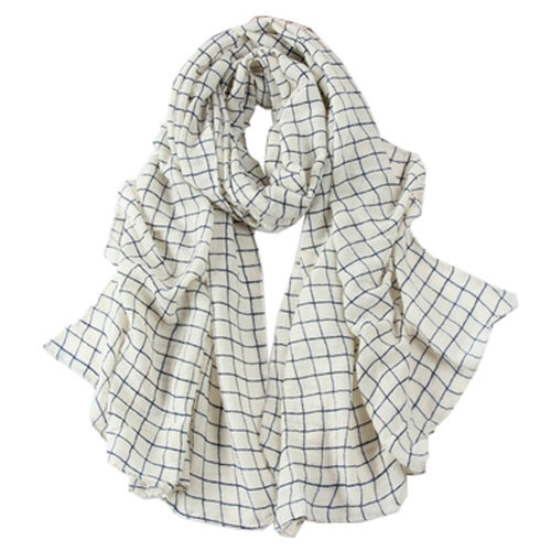 Grid Scarves Winter Warm Female Scarves Infinity scarf/shawl,White