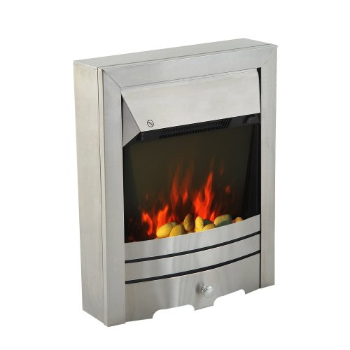 Homcom Freestanding Electric Fire | Flame Effect Fireplace 2kw