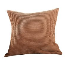 Classical Pinstriped Corduroy Throw Pillows Chain Accent Decorative Brown