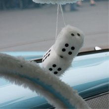 """Vintage Parts 14554 3"""" White Fuzzy Dice with Black Dots - Pair"""