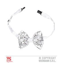 Silver Sequin LED Lights Bow Tie -  silver clown sequin bow tie 4 flashing led lights adjustable decoration