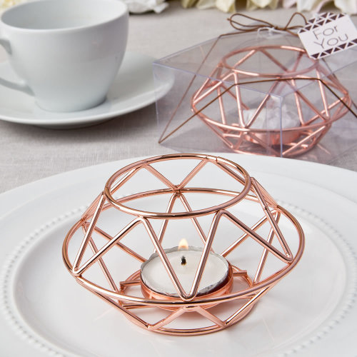 Geometric Design Rose Gold Metal Tealight Candle Holder From Solefavors