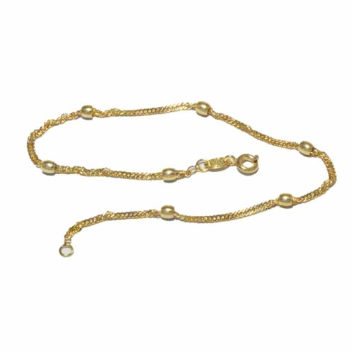 New 9CT Gold Filled Singapore Beaded Anklet B10