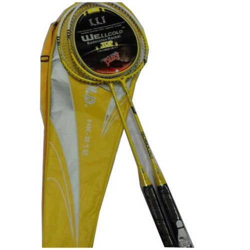 2 Packs Badminton Racquets Yellow Rackets for Wholesale with Case