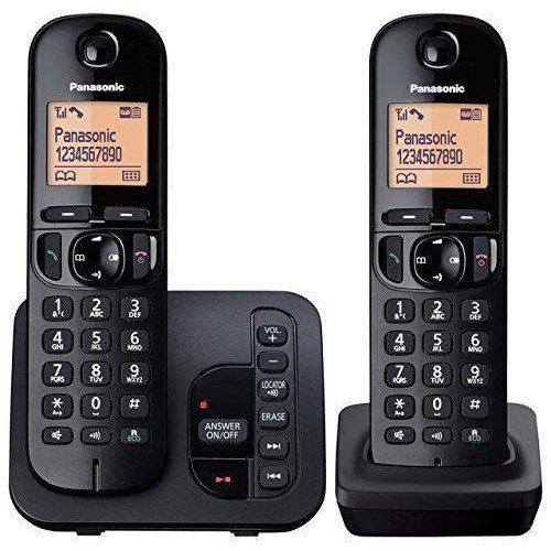 Panasonic Twin Digital Cordless Answer Phone with Nuisance Calls - Block (KXTGC222EB)