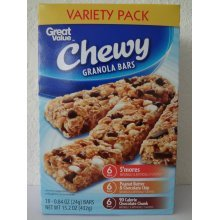 Great Value Chewy Granola Bars Variety Pack,18 ct- 0.84 oz (24 g)
