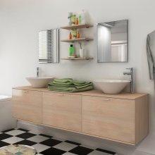 vidaXL Eight Piece Bathroom Furniture and Basin Set Beige