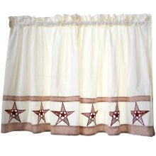 Sweet Embroidered Curtain Kitchen Curtain Coffee Screens- Star