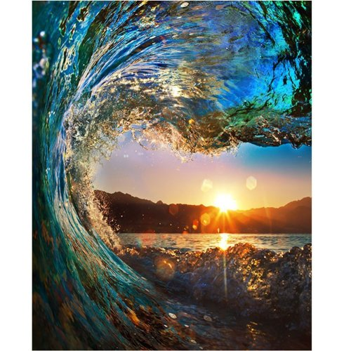 Diy Oil Paint by Number Kit,Painting Paintworks Sunset Wave Seascape Drawing with Brushes 16*20 inch Christmas Decor Decorations Gifts(Without Frame)