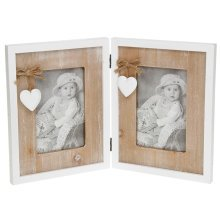"Provence Heart Double Photo Frame Hinged Takes 2 - 4 x 6""  (10 x 15cm)"