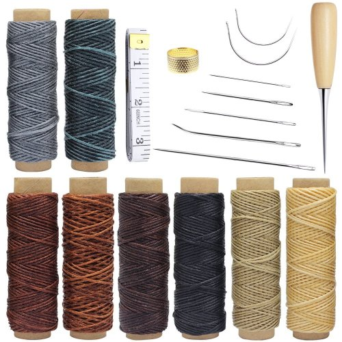 Homgaty 18 Pieces Leather Craft Tools with Hand Sewing Needles Drilling Awl Waxed Thread and Thimble for Leather Upholstery Carpet Canvas DIY...