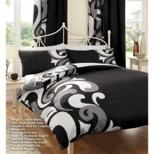 Grandeur black & white cotton blend duvet cover