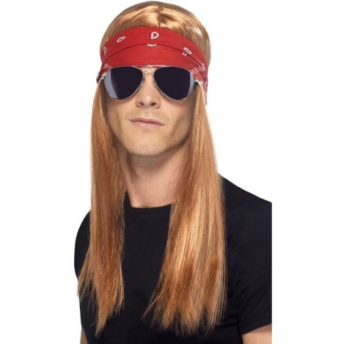 Smiffy's 90's Rocker Kit With Auburn Wig, Bandana And Sunglasses