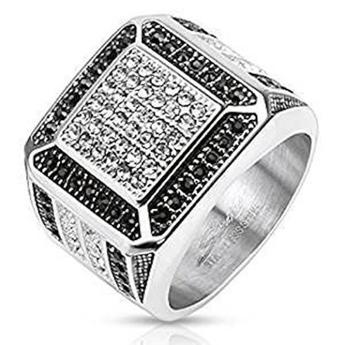 18.3mm Width Black and Clear Multi Crystal Square Design Stainless Steel Ring