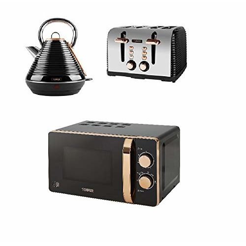 Tower Rose Gold Black Manual Microwave, Pyramid Linear Kettle, 4 Slice toaster
