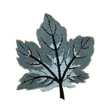 6 Pcs Exquisite Applique Patches DIY Applique Embroidered Patches, Gray Leaf