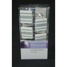 Black Stripe Set Of 12 Shower Hooks - Bathroom Curtain Hanger Rings White Pink -  bathroom shower curtain hanger hooks rings white pink high heel