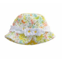 Summer Baby Girl Caps Cotton Sun Hat For 2-3 Years Baby Yellow Floral